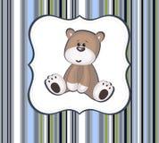 Милая карточка плюшевого медвежонка с рамкой ярлыка Стоковая Фотография
