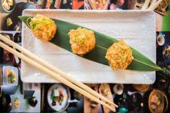 在日本式的海鲜开胃菜 免版税库存照片