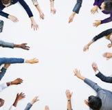 Человеческие руки бизнесменов и космоса экземпляра Стоковые Фотографии RF