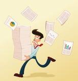 年轻工人和文件 免版税库存图片
