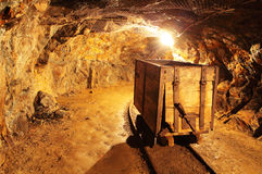 地下矿隧道,采矿业 免版税库存图片
