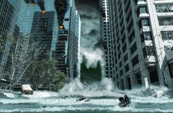 Πόλη που καταστρέφεται από το τσουνάμι Στοκ Εικόνες