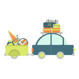 有行李拖车的汽车 免版税库存图片