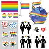 Ομοφυλοφιλικά εικονίδια χαρτών Στοκ Φωτογραφίες