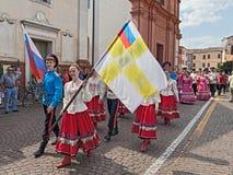 俄国舞蹈家的街道游行 库存照片