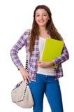 Молодой студент при изолированные книги Стоковые Изображения