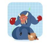 公牛在熊的动画片胜利在股市上 免版税库存图片