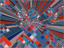 Город мозаики красочный городской вектора небоскребов Стоковое Изображение