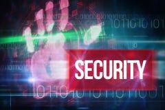 Безопасность против голубого дизайна технологии с бинарным кодом Стоковые Изображения