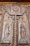 木门细节在椰树修道院,多布罗加,罗马尼亚的 库存照片