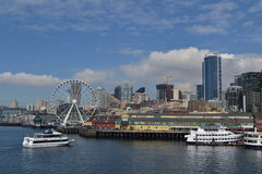西雅图的江边,西雅图,华盛顿 免版税库存照片