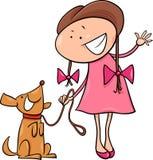有狗动画片例证的逗人喜爱的女孩 免版税库存照片