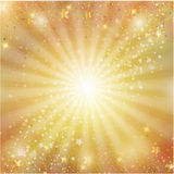 金子与星的圣诞节装饰 免版税库存照片