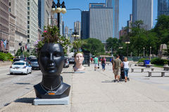 在著名格兰特公园附近的街道上在芝加哥 免版税库存照片