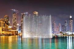 一个创纪录的喷泉系统,迪拜 库存照片