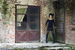 Нервная готическая девушка Стоковые Фотографии RF