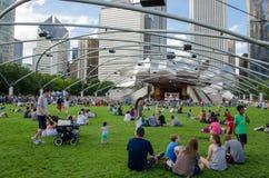 享受生活音乐会的人们在城市公园 免版税库存图片