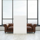 Винтажная софа и белый плакат Стоковые Изображения