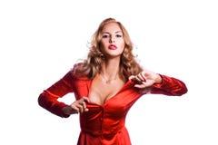 红色夹克的迷人的女商人 免版税库存照片