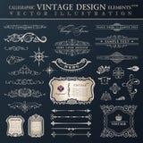 Год сбора винограда вектора установленный Каллиграфические элементы дизайна и декорумы страницы Стоковые Фото