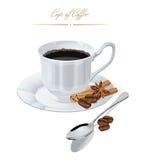 与咖啡的海报 向量 免版税库存照片