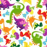 Безшовная картина предпосылки динозавров младенца Стоковое Изображение RF