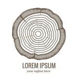 Ежегодный значок логотипа годичных колец дерева Стоковая Фотография