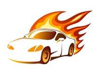 有灼烧的火焰的现代豪华运动的小轿车 免版税库存图片