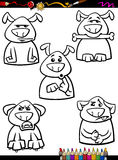 Страница расцветки шаржа эмоции собаки установленная Стоковые Фото