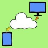 乱画样式片剂、个人计算机和云彩 图库摄影