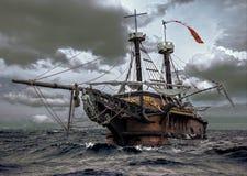 海上的被放弃的船 免版税库存照片