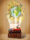 Αποσκευές με το ταξίδι γύρω από την έννοια παγκόσμιας απεικόνισης Στοκ εικόνα με δικαίωμα ελεύθερης χρήσης
