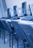 蓝色色彩工作场所 免版税库存图片