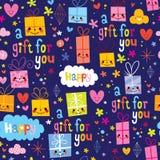 Картина шаржа упаковочной бумаги подарка безшовная Стоковые Фото