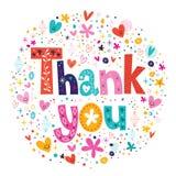 词感谢您在装饰正文卡片上写字的印刷术 免版税图库摄影