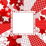 华伦泰与心脏、星和小点的庆祝卡片 免版税库存图片