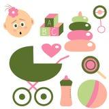 为女婴设置的童年 关于孩子的元素 向量 免版税库存图片