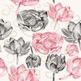 与莲花的无缝的墙纸样式 库存图片