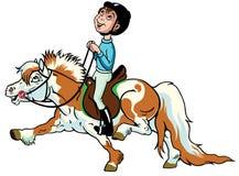 乘坐舍特兰群岛小马的动画片男孩 免版税库存图片