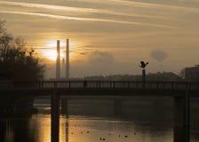 都市的日落 库存图片