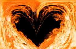 热的火心脏 图库摄影