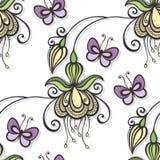 与蝴蝶的无缝的华丽花卉样式 免版税图库摄影