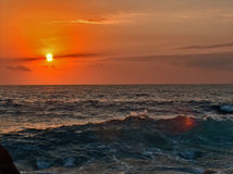 Бурное море на заходе солнца Стоковое фото RF