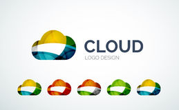 Σχέδιο λογότυπων σύννεφων φιαγμένο από κομμάτια χρώματος Στοκ Εικόνες