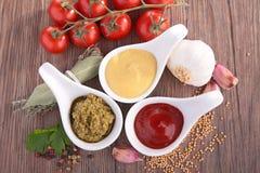 番茄酱、马约角和芥末 免版税库存照片