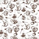 茶壶和杯子无缝的样式 免版税图库摄影