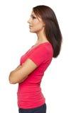 Взгляд со стороны женщины смотря вперед Стоковые Изображения RF