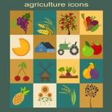 Установите земледелие, обрабатывая землю значки Стоковые Фотографии RF