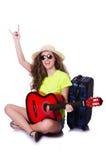 旅行的吉他演奏员 免版税库存照片