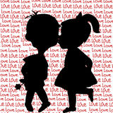 与男孩和女孩亲吻的动画片剪影的卡片 免版税库存图片
